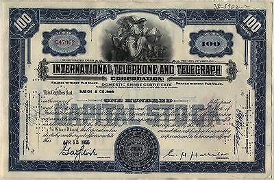 International Telephone & Telegraph Stock Certificate ITT Older Style