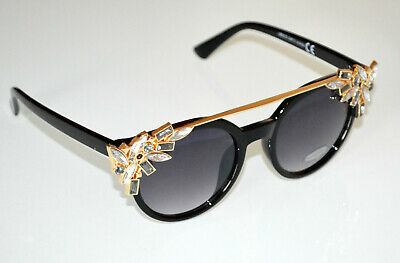 Gafas de sol mujer negros dorados cristales grises transparentes lentes B3