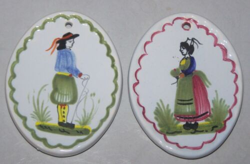 PAIR Henriot Quimper French faience Christmas ornaments