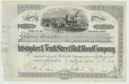 1912 Christopher & Tenth Street Railroad Company Stock Certificate New York