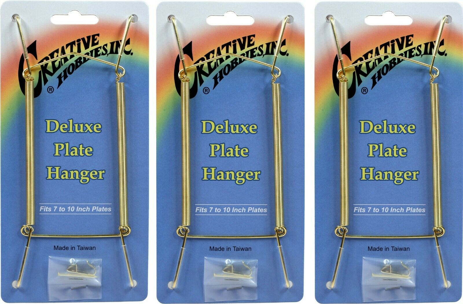Gold Plate Display Hangers, Spring Type,Hold 7 to 10 Inch Plates -Pack of 3 Crafts