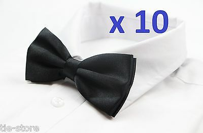 MENS BULK 10 x PACK PLAIN BOW TIE PRE-TIED MEN'S GROOMSMAN WEDDING FORMAL TIES