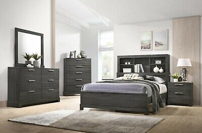 The Room Style Contemporary Bedroom Set With Bookcase Headboard, Grey -
