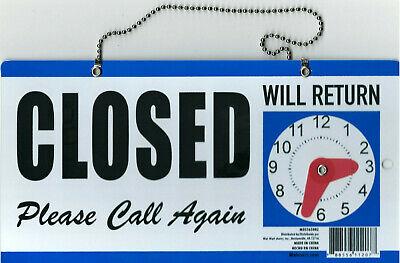 Open Closed-will Return Clock Sign With Hanger For Door 6x11.5