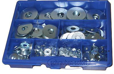 305 Stck verz. Unterlegscheiben DIN 9021,M3 - M12, Scheiben - Sortiment + Koffer