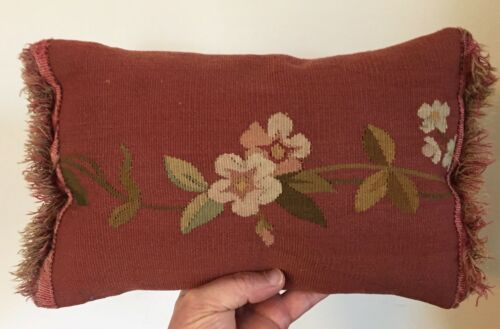 Antique Red Flower Aubusson Tapestry Made into Pillow Bolster with Fringe #2