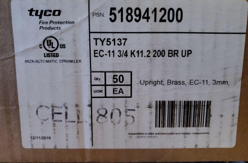 """TYCO TY5137 3/4"""" 200°F Brass /  Extnd Coverage Upright Sprinkler Heads QTY-100"""