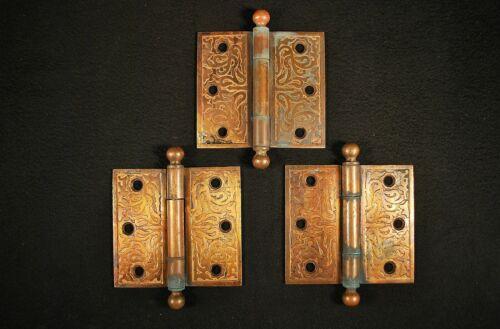 "3 MATCHING ORNATE ANTIQUE VICTORIAN / EASTLAKE 3 1/2"" BALL TIP DOOR HINGES"