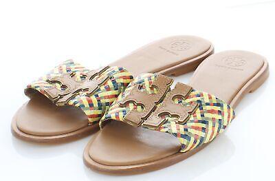 20-21 $228 Women's Sz 7 M Tory Burch Ines Leather Emblem Slide Sandals - Tan