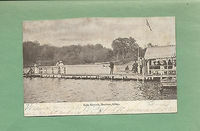 People Enjoying Pier, Boats,LAKE KENOSIA In DANBURY, CT Vintage 1906 Postcard