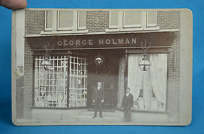 1890s Cabinet Card Photograph George Holman Owner Lace Shop Window Display
