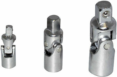 """3 PC UNIVERSAL JOINT SET 1/4"""" 3/8"""" 1/2"""" DRIVE FLEXIBLE FOR ALL SOCKETS"""