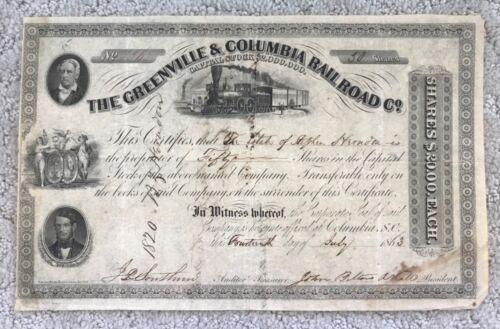 1863 GREENVILLE & COLUMBIA RAILROAD Co. SOUTH CAROLINA S.C. STOCK CERTIFICATE