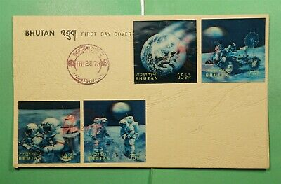 DR WHO 1973 BHUTAN FDC SPACE 3-D IMPERF COMBO  g11388