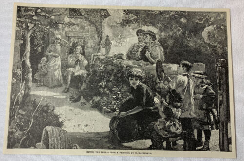 1887 magazine engraving ~ HIVING THE BEES