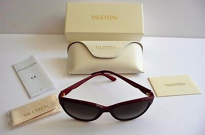 Valentino NIB Deep Wine Red Round Cat Eye Sunglasses Saks Fifth Ave Retail $425