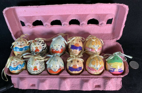 Vintage Lot Of 11 Real Eggshell Hand Painted Easter Egg Ornaments China Decor