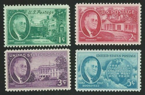 1945 PRESIDENT FRANKLIN D ROOSEVELT FDR Set of Four Commemorative US Stamps MINT