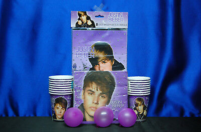 Justin Bieber Party Set # 7 Cups Invites Napkins Loot bags For 16 Guests - Justin Bieber Invitations