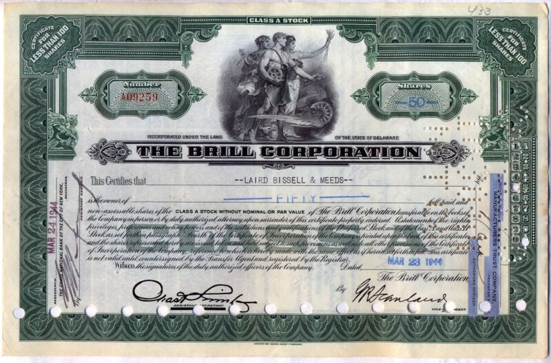 The Brill Corporation Stock Certificate Green