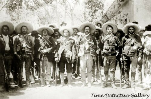 """Mexican General Francisco """"Pancho"""" Villa His Men - c1910 - Historic Photo Print"""