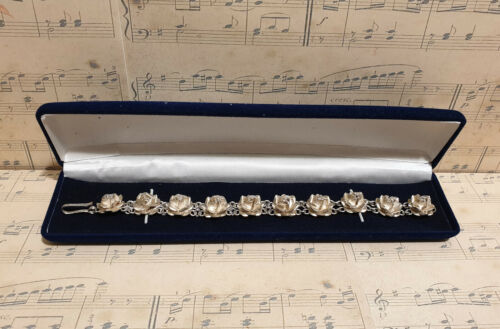Vintage Mexican Chunky 925 Sterling Silver Rose Flower Chain Bracelet with Box