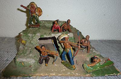 Diorama Indianer Felsen mit Höhle Wildwest 7 Figuren