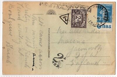 Postal History: Mailed Printed card with 2d Postage Due Stamp: Gibbs Advertising