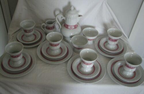 red transferware HEINRICH RUDESHEIMER GERMANY 22 PIECE COFFEE Set w/plates