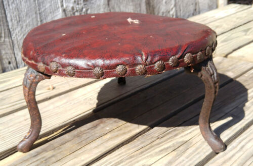 Antique Victorian Indiana Furniture Co Foot Stool, Cast Iron Legs Red Upholstery