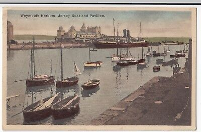 Dorset; Weymouth Harbour, Jersey Boat & Pavilion PPC, Unposted c 1930's image