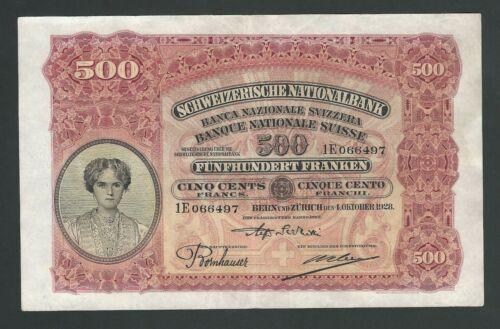SWITZERLAND 500 FRANCS 1928  VF   RARE BANKNOTE