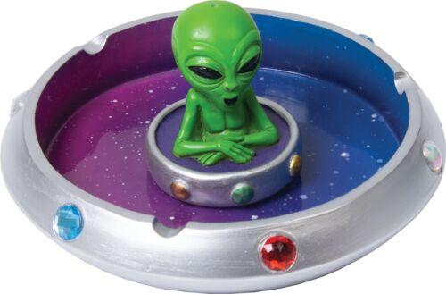 """6"""" Green Alien in Flying Saucer Polyresin Cigarette Ashtray"""