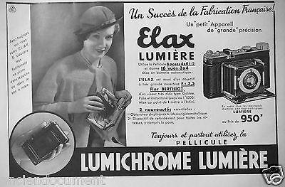 PUBLICITÉ PRESSE 1934 LUMICHROME LUMIÈRE ELAX PETIT APPAREIL DE GRANDE PRÉCISION