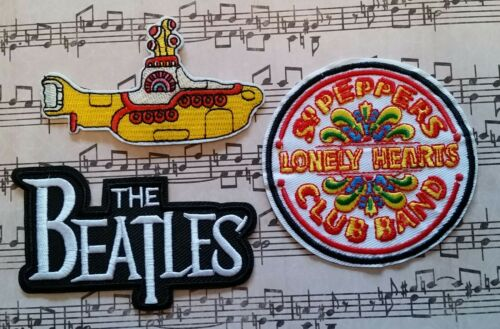 The BEATLES Yellow Submarine, Sgt. Pepper Band Logo Embroidered 3 PATCHES