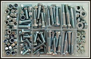 Zinc Plated M10 M12 Hex Bolt High Tensile Screw/ Nyloc / Washer Kit 249pce 8.8