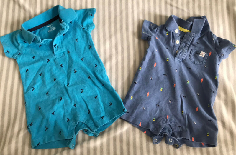 Carter's Baby Boy Summer Clothes Outfit Set Lot 3 Months Beach Surfer Sea Whale