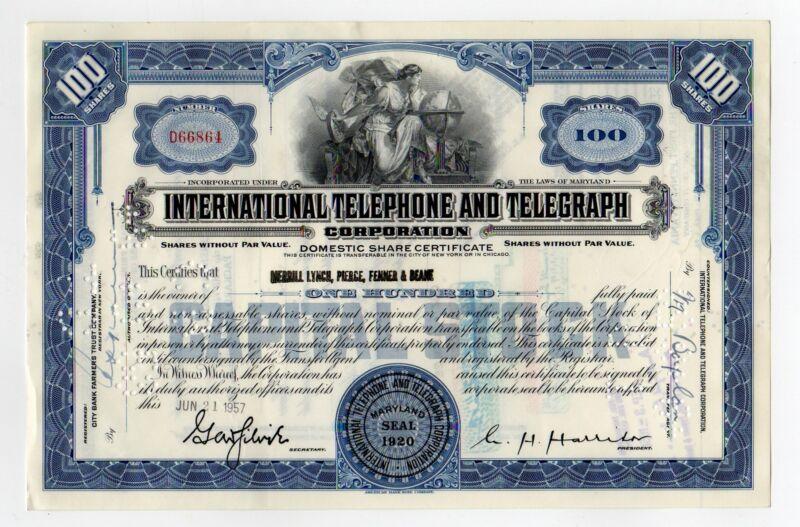 International Telephone and Telegraph Stock Certificate