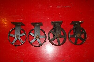 Set Of 4 Cast Iron Cart Wheels Casters Metal Industrial Steampunk 4 Inch.