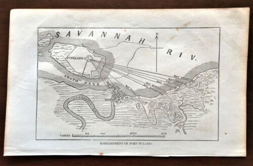 Original 1868 Civil War Map ~ BOMBARDMENT of FORT PULASKI ~ Extremely Rare