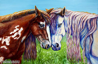 ORIG Animals Realism handmade decor oil/canvas Horses Signed painting by Yelena