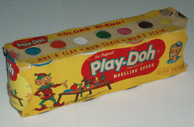 1959 PLAY DOH Cans in Sleeve  - very early toy history vintage playdoh