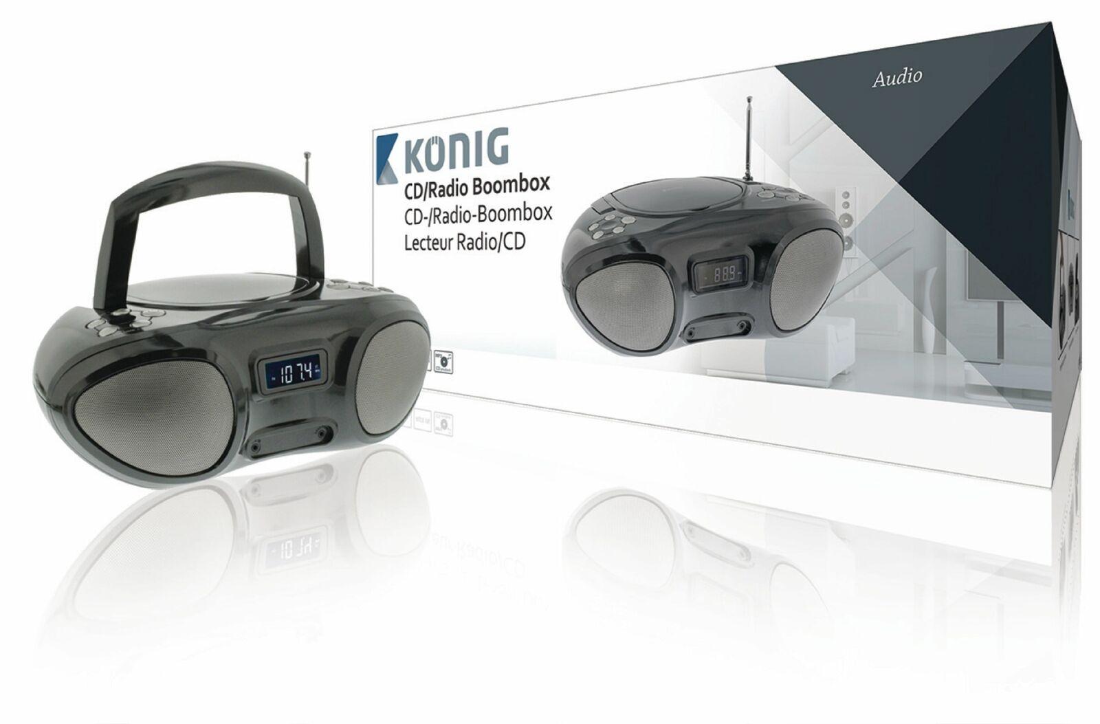 König Tragbarer CD-Player Mini Stereoanlage Kompaktanlage CD MP3 AUX Radio