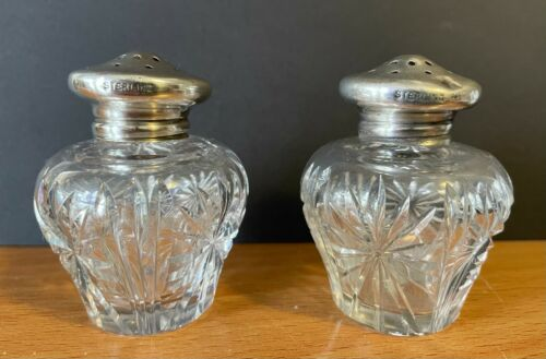 Antique Brilliant Cut Glass Salt & Pepper Shakers w/ Sterling Silver Tops