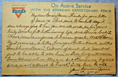 WWI AEF France Post Card from 501st Engineers to Brooklyn, NY