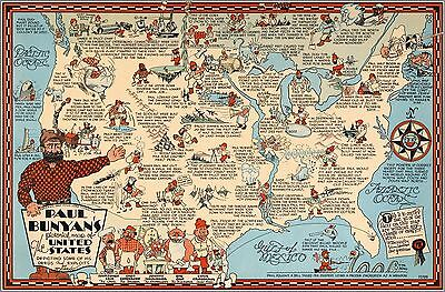 1935 Paul Bunyan's pictorial map of the United States Humorous POSTER 8332000