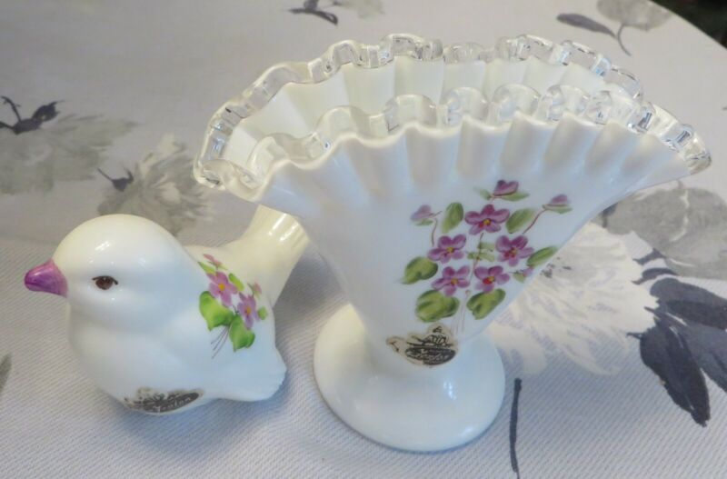 Fenton Violets In The Snow Silver Crest Fan Vase & Bird Two Nice Vintage Pieces