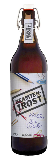 Beamten Trost oder Prost Bier Geschenk 1 Liter Flasche mit Bügelverschluss Pils