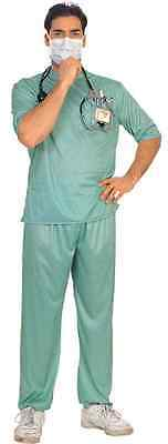 E.R. Surgeon Male Doctor Nurse Scrubs Green Fancy Dress Halloween Adult Costume