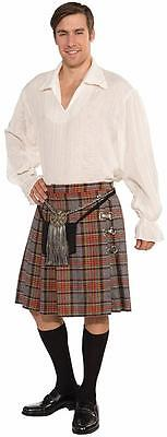 Shirt Kilt Scottish Highlander Fancy Dress Up Halloween Deluxe Adult Costume